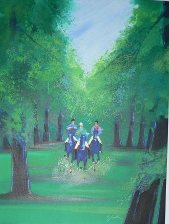 Lithographie Spahn - Trot en sous bois