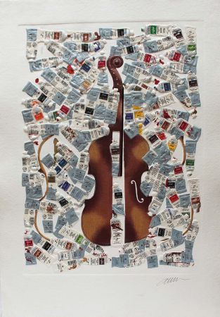 Gravure Arman - Tubes et violin