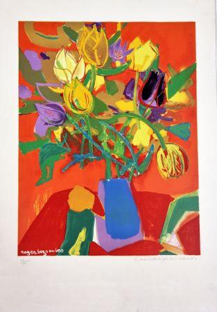 Lithographie Bezombes - Tulipes