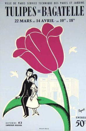 Lithographie Peynet - Tulipes de Bagatelle