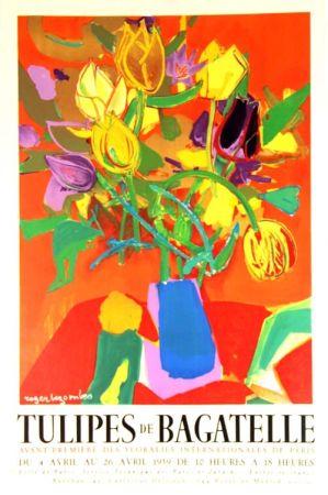 Lithographie Bezombes - Tulipes de Bagatelle