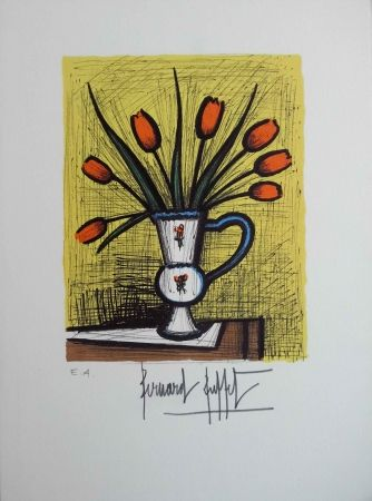Lithographie Buffet - Tulipes orangées