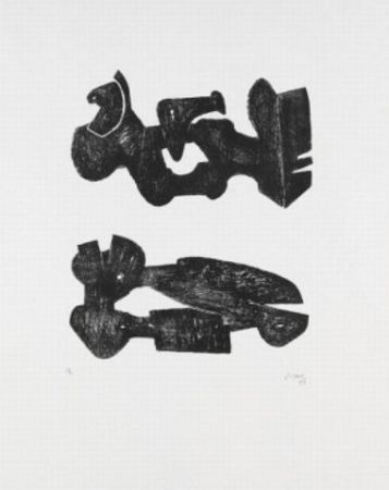 Lithographie Moore - Two black forms