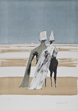 Lithographie Chadwick - Two figures in a landscape