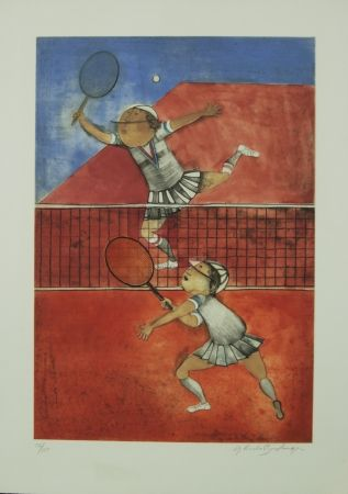 Lithographie Boulanger - TWO GIRLS PLAYING TENNIS