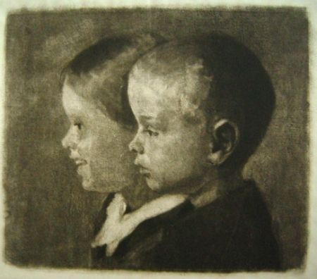 Manière Noire Ilsted - Two of the children of the artist