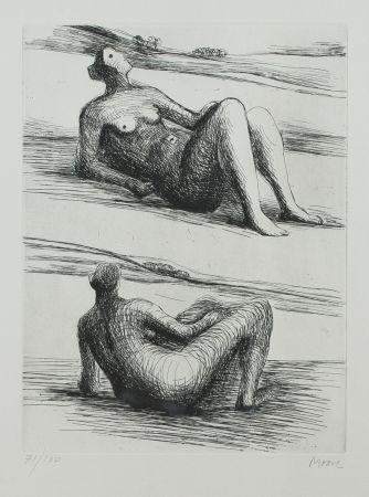 Eau-Forte Et Aquatinte Moore - Two Reading Figures