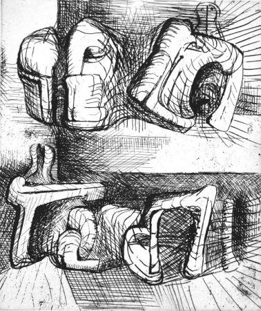 Eau-Forte Moore - Two reclining figure