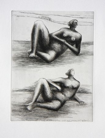 Eau-Forte Et Aquatinte Moore - Two Reclining Figures