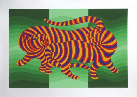 Sérigraphie Vasarely - Two Tigers on Green