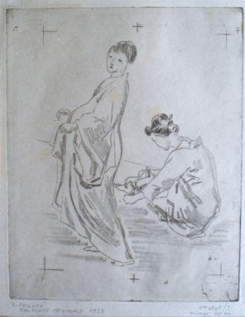 Gravure Foujita - Two woman