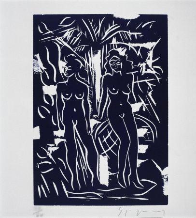 Linogravure Szczesny - Two Women in Blue