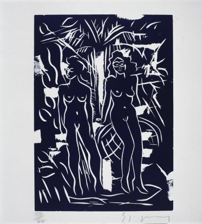 Linogravure Szczesny - Two Women in Blue