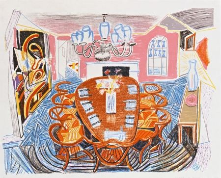 Lithographie Hockney - Tyler Dining Room