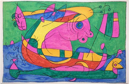 Lithographie Miró - UBU ROI : LE VOYAGE DE RETOUR (1966).