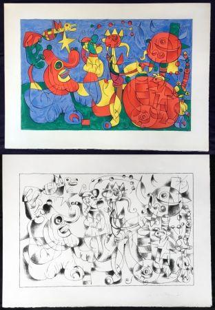 Lithographie Miró - UBU ROI : Suites en couleurs et en noir (26 lithographies à grandes marges) 1966.