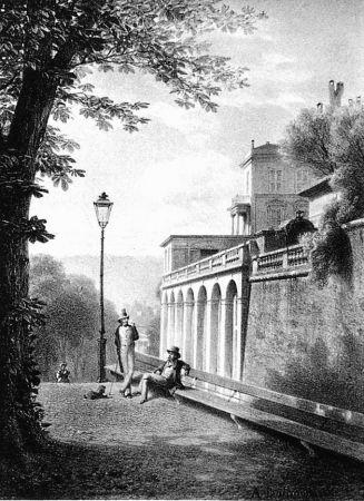 Lithographie Fontanesi - Un coin de la Treille
