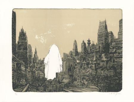 Lithographie De Crécy - Un Fantôme sur la ville