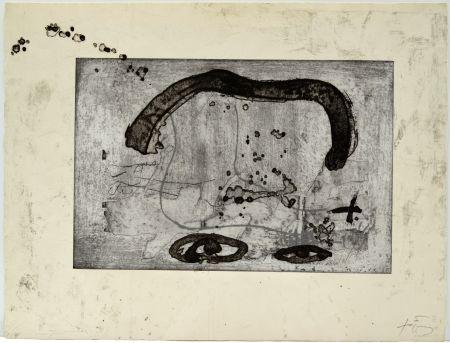 Eau-Forte Tàpies - Une vase de terre crue et le T du nom de Tàpies