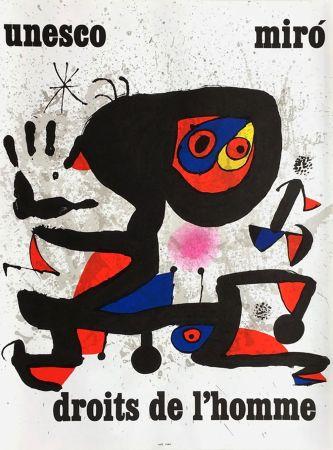 Affiche Miró - UNESCO - DROITS DE L'HOMME -MIRO. Affiche originale de 1974.