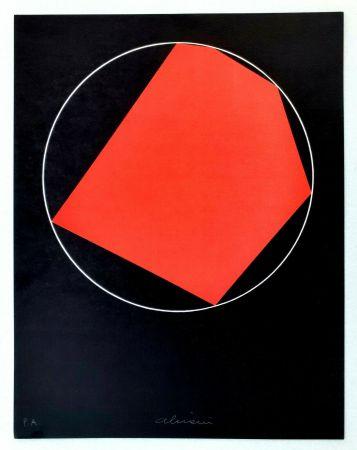 Lithographie Alviani - Unoduetrequattrocinquesei poligono inscritto nel cerchio