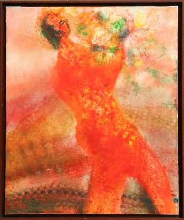 Lithographie Ripolles - Untitled - Figure with Flowers