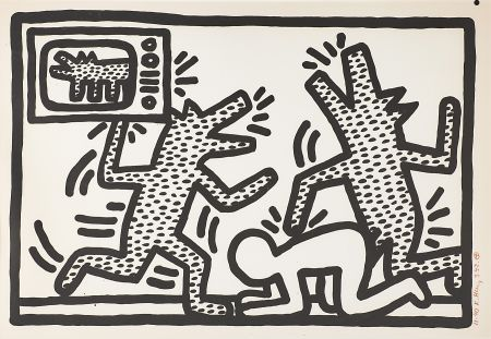 Lithographie Haring - Untitled (3)
