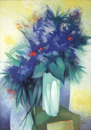 Lithographie Gaveau - Untitled (Blue Flowers)