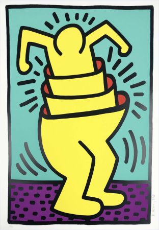 Sérigraphie Haring - Untitled (Cup Man)