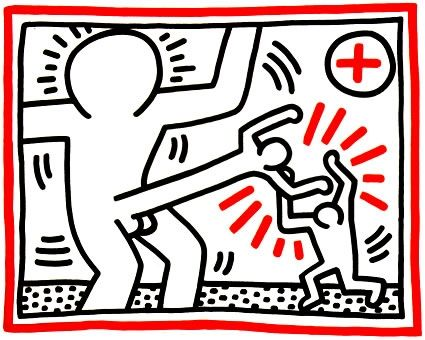 Lithographie Haring - Untitled from Three Lithographs #1
