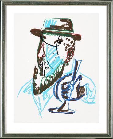 Sérigraphie Lüpertz - Untitled, Mann mit blauer Trompeter