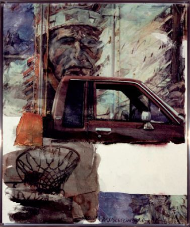 Aucune Technique Rauschenberg - Untitled (Native American with Truck)