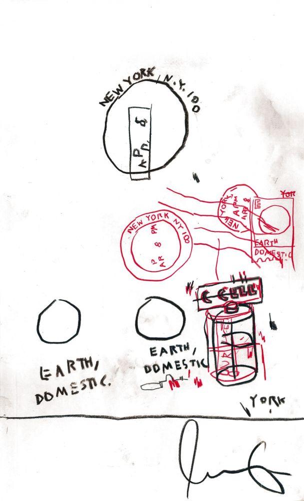 Aucune Technique Basquiat - Untitled Original Crayon Drawing On Paper,