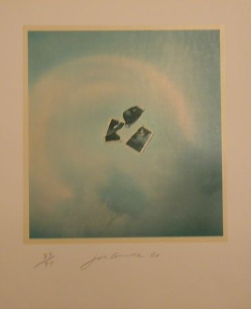 Lithographie Goode - Untitled (photo pieces on blue background)