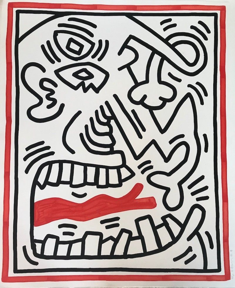 Lithographie Haring - Untitled (Red Tongue)