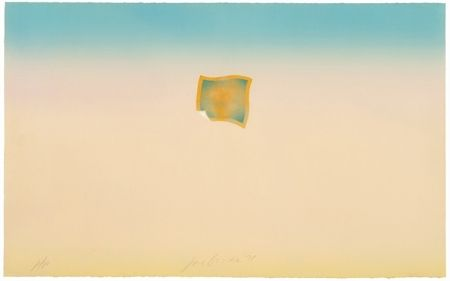 Lithographie Goode - Untitled (small orange photo on peach and blue background)