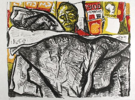 Lithographie Guttuso - Uomo con giornale / Man with Newspaper