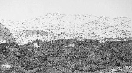 Eau-Forte Castellani - Urbino visto dalle Cesane