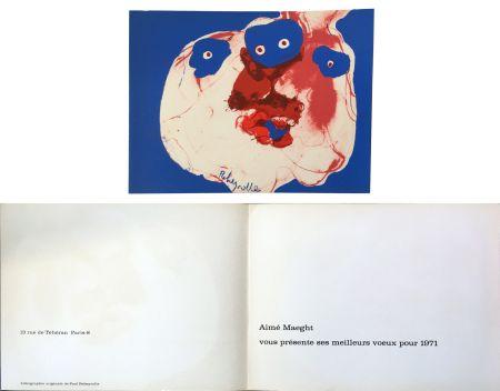 Lithographie Rebeyrolle - Vœux d'Aimé Maeght pour 1971 : LITHOGRAPHIE ORIGINALE DE REBEYROLLE