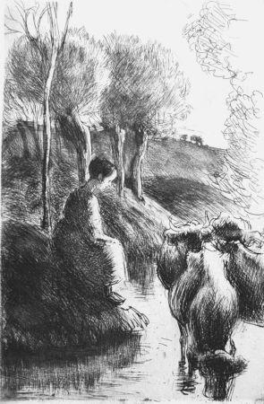 Eau-Forte Pissarro - Vachère au bord de l'eau