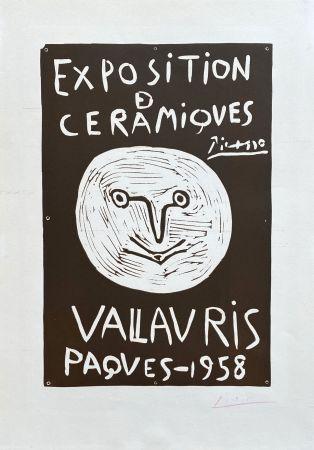 Linogravure Picasso - Vallauris 1958