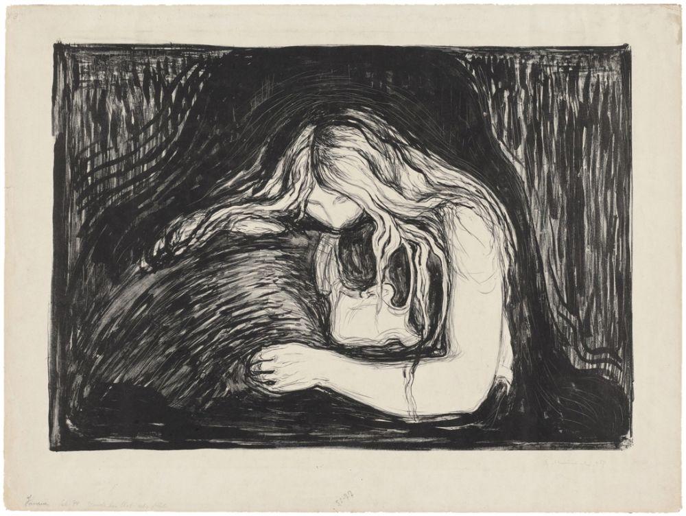 Lithographie Munch - Vampire II