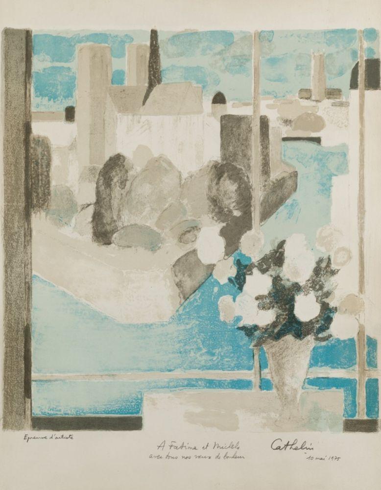 Lithographie Cathelin - Vase à la fenêtre
