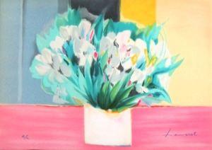Lithographie Hemeret  - Vase aux iris