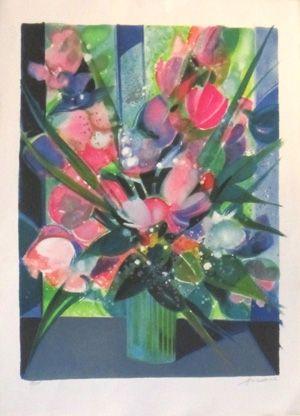 Lithographie Hilaire - Vase de tulipes