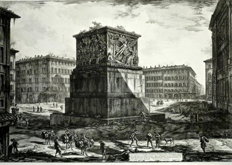 Gravure Piranesi - Veduta del Piedestallo dell'Aposteosi, from