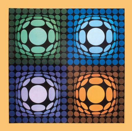 Héliogravure Vasarely - '' VEGA BI ARCT ''