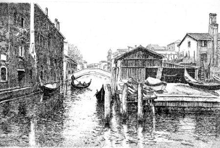 Eau-Forte Cotugno  - Venezia, squero di San Trovaso
