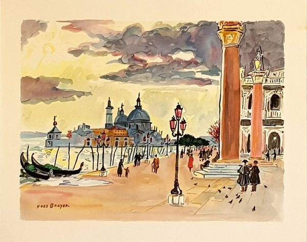 Lithographie Brayer - Venise