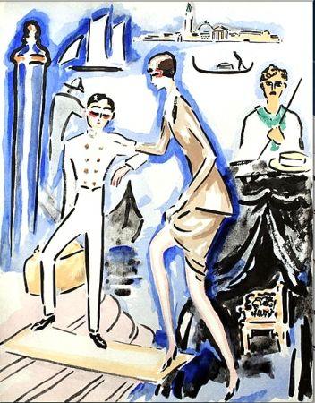 Pochoir Van Dongen - Venise- The Arrival